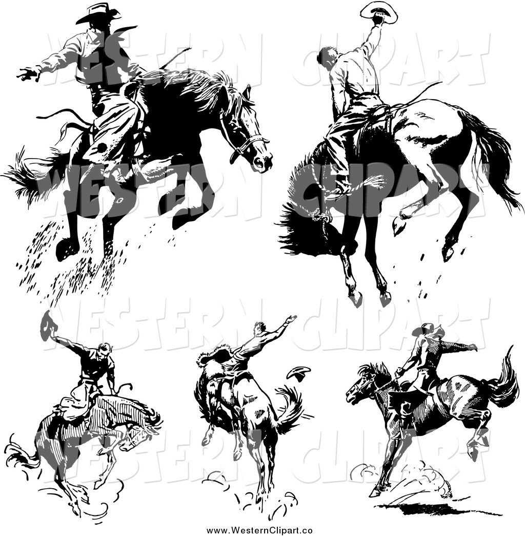 Vector Clip Art of Black and White Retro Rodeo Cowboys on.