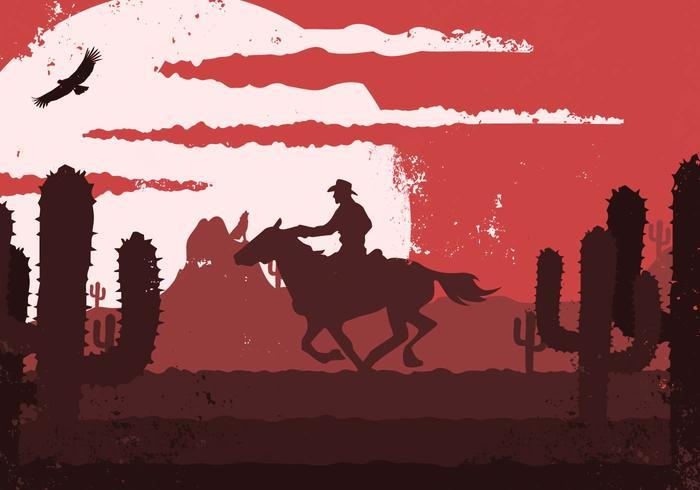 Gaucho Cowboy Western Vintage Illustration.