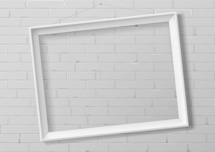 Horizontal white thin photo frame.