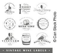 Set of wine labels . Set of wine label templates clip art.