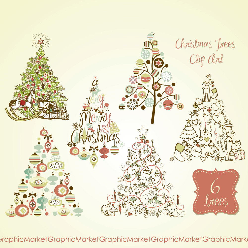 Vintage Wire Christmas Tree Clipart.