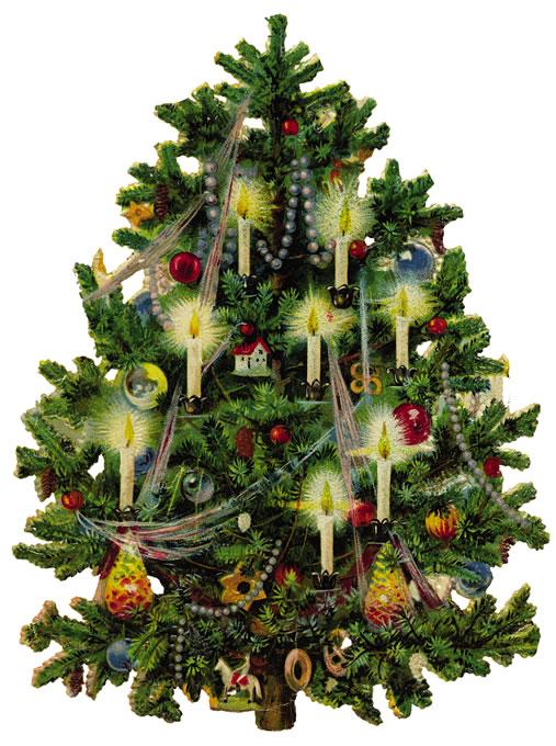 Vintage Christmas Tree Clipart.