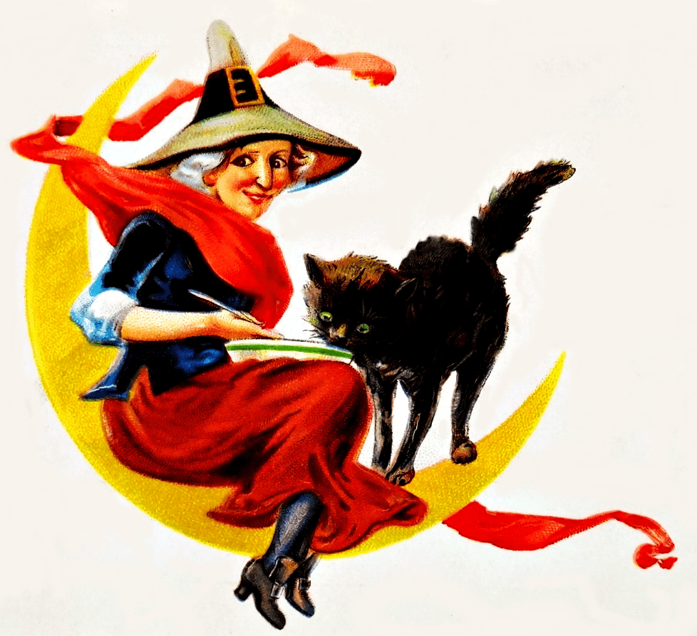 free Vintage witch and black cat clipart.