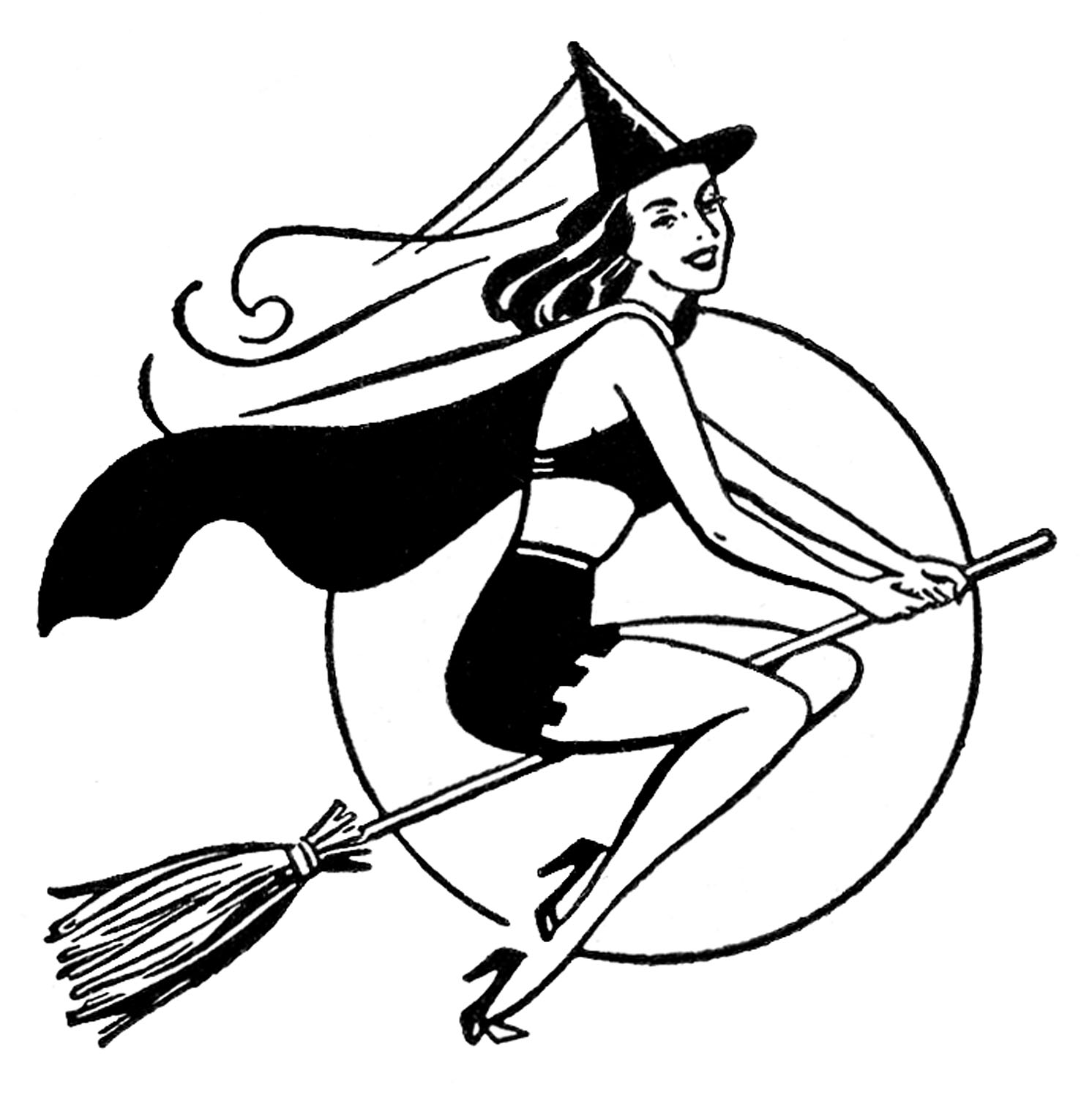 Vintage Witch Clipart.