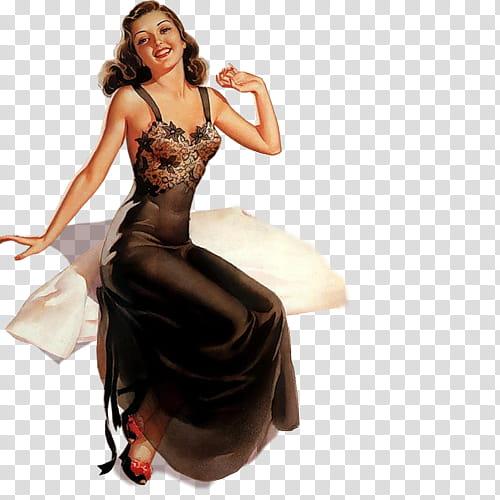 Ning Vintage Pin up girls Pics, woman wearing black dress.
