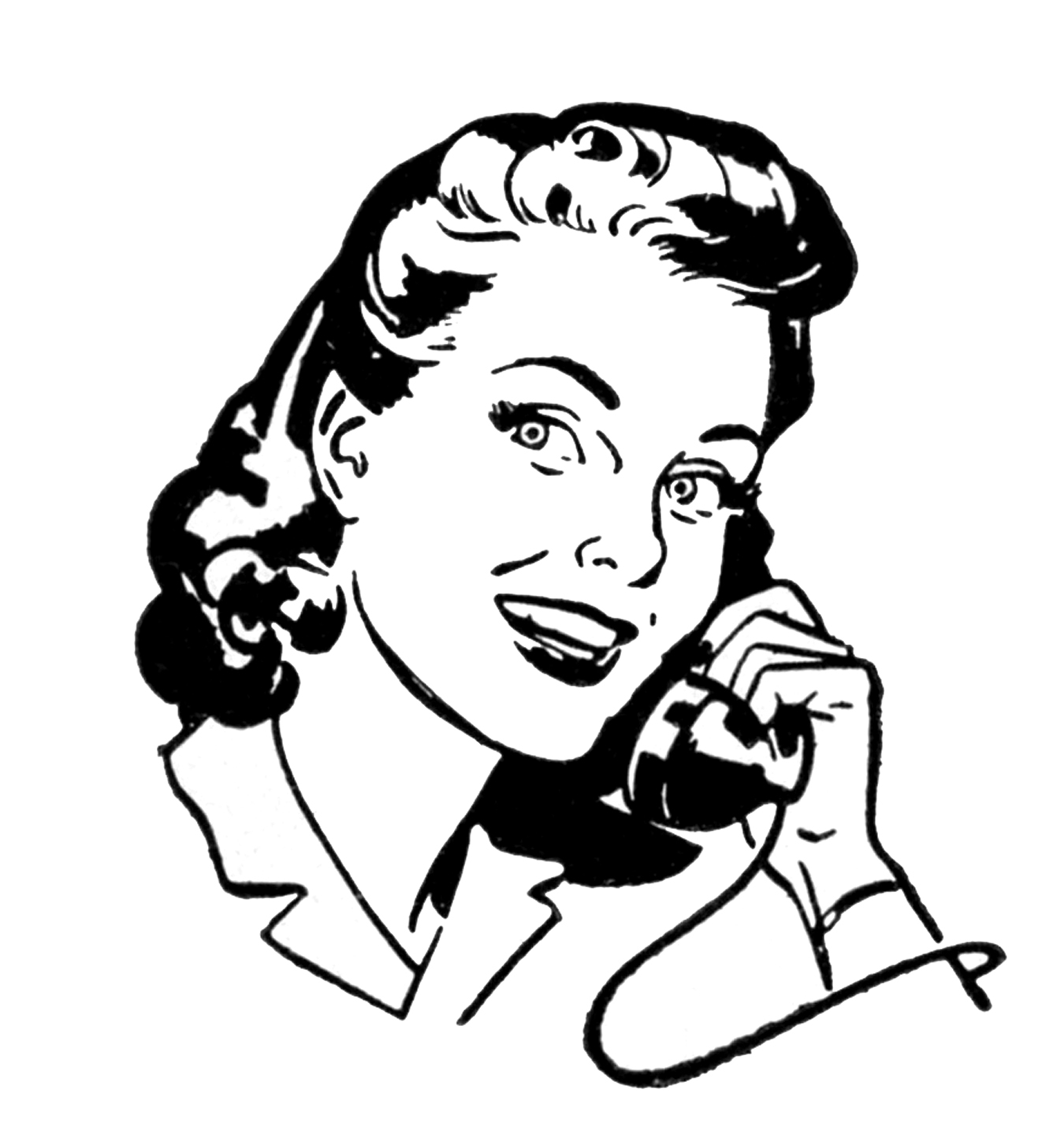 Woman On Telephone Clipart.