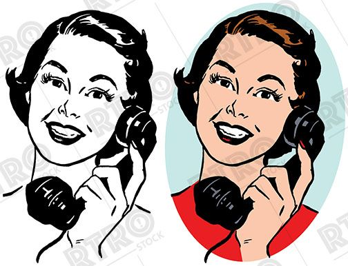 A woman talking on a vintage telephone retro clipart clip.
