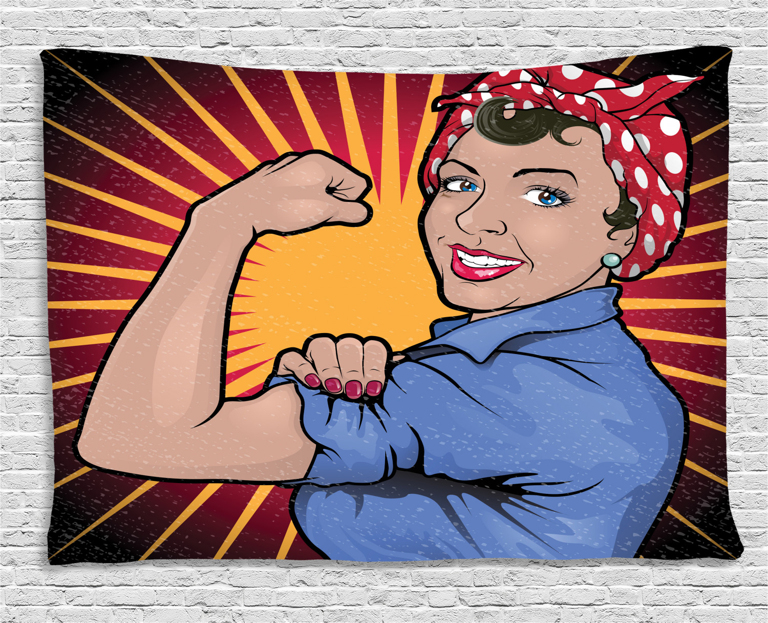 Feminist Tapestry, Illustration of Retro Strong Powerful Woman Showing Arm  Muscle Vintage Theme Print, Wall Hanging for Bedroom Living Room Dorm.