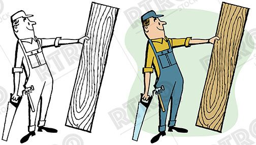 A carpenter with a saw holding up a piece of raw wood.