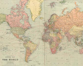 Vintage World Map Clipart.