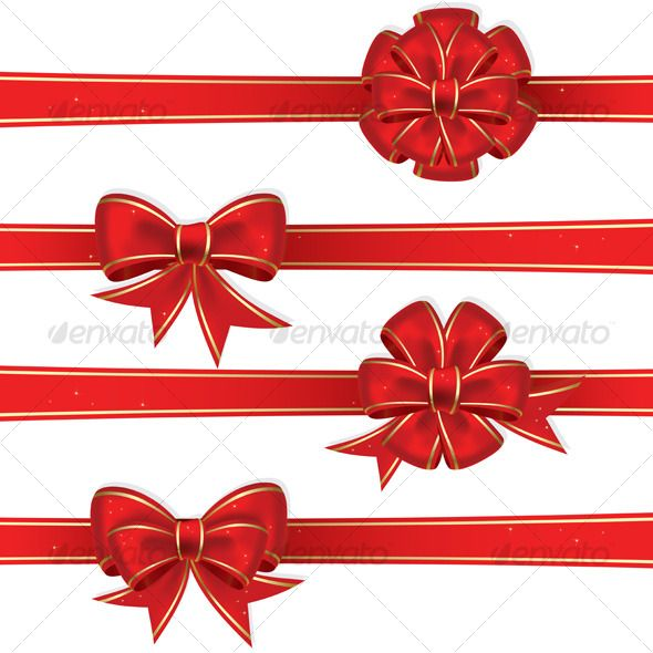 Set from red christmas bows.