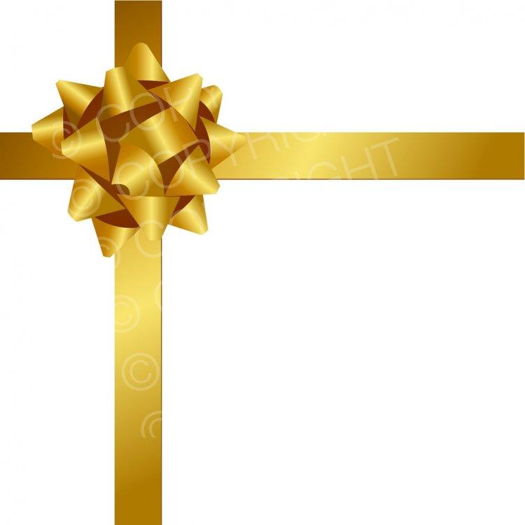 Gold Christmas Ribbon and Bow Prawny Holiday Clip Art.