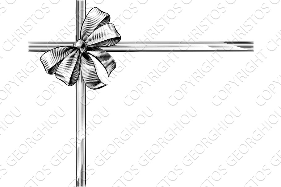 Gift Ribbon Bow Vintage Woodcut Engraved Etching.