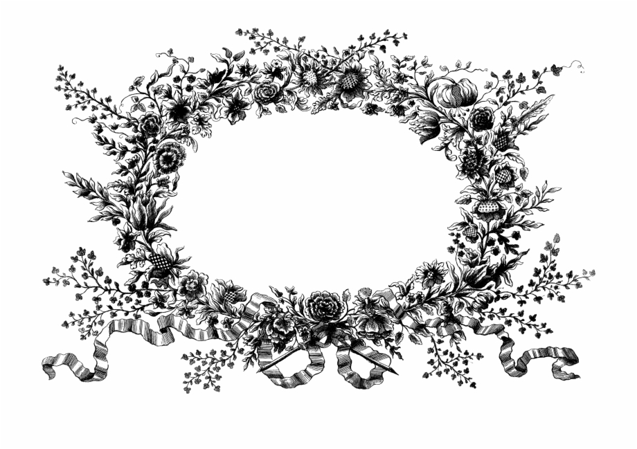 Graphic Royalty Free Stock Floral Wreath Clipart Black.