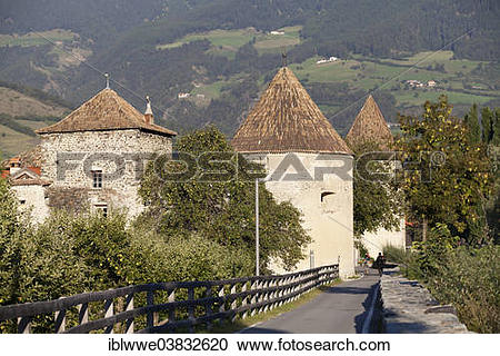 "Stock Photography of ""City wall, Glurns, Vinschgau Valley, Alto."