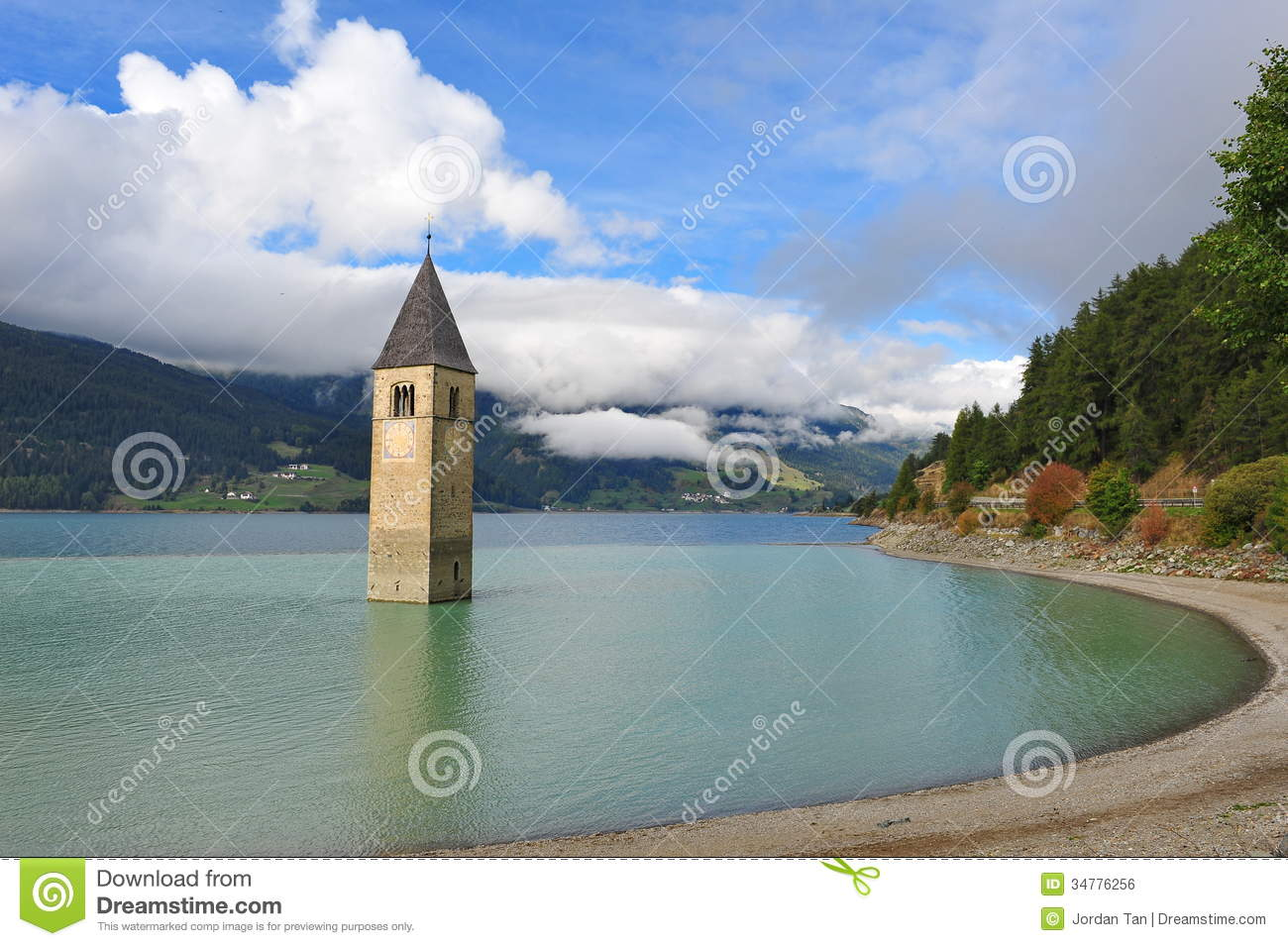 Submerged Church Tower, Graun Im Vinschgau, Italy Royalty Free.