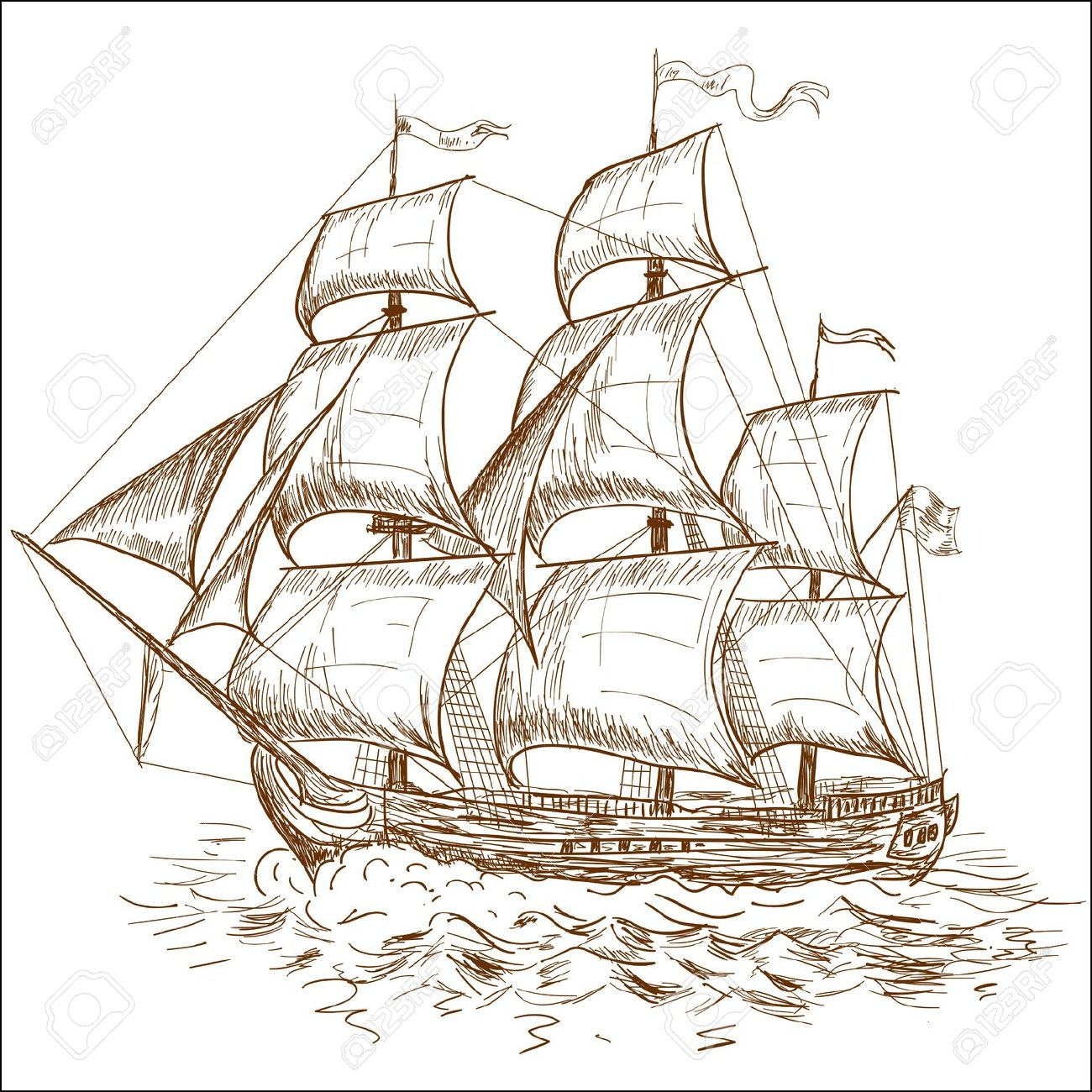 Sail Ship Drawing at GetDrawings.com.