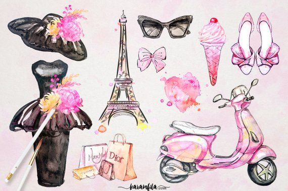 Paris Clipart French Fashion Watercolor Eiffel Tower Floral.