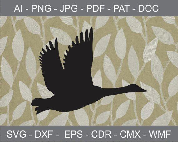 Flying Goose Design Clipart, Iron on Transfer file, Vinyl.