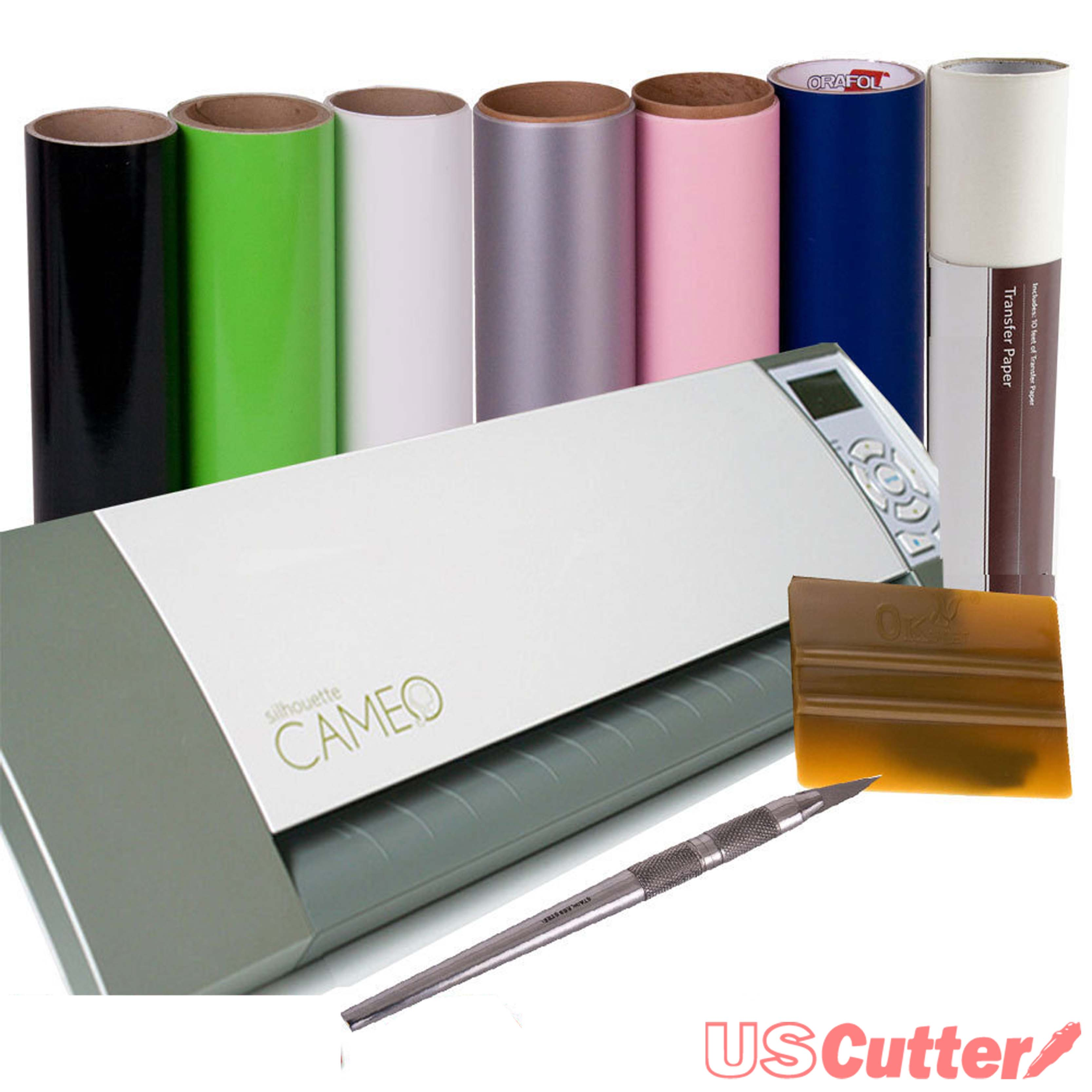 Silhouette Cameo Deluxe Bundle with Multi Colored Vinyl Rolls.