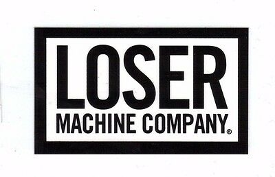 Loser Machine Large Gloss Print Vinyl Logo Stickers Black White NEW.