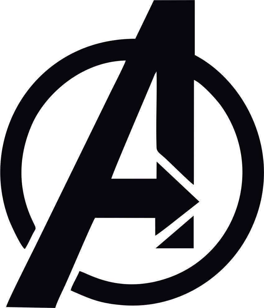 Avengers Black Vinyl Logo Decal Sticker for Window/Wall.