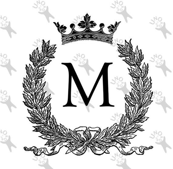 Vintage Monogram Initial Letter M Crown Instant Download.