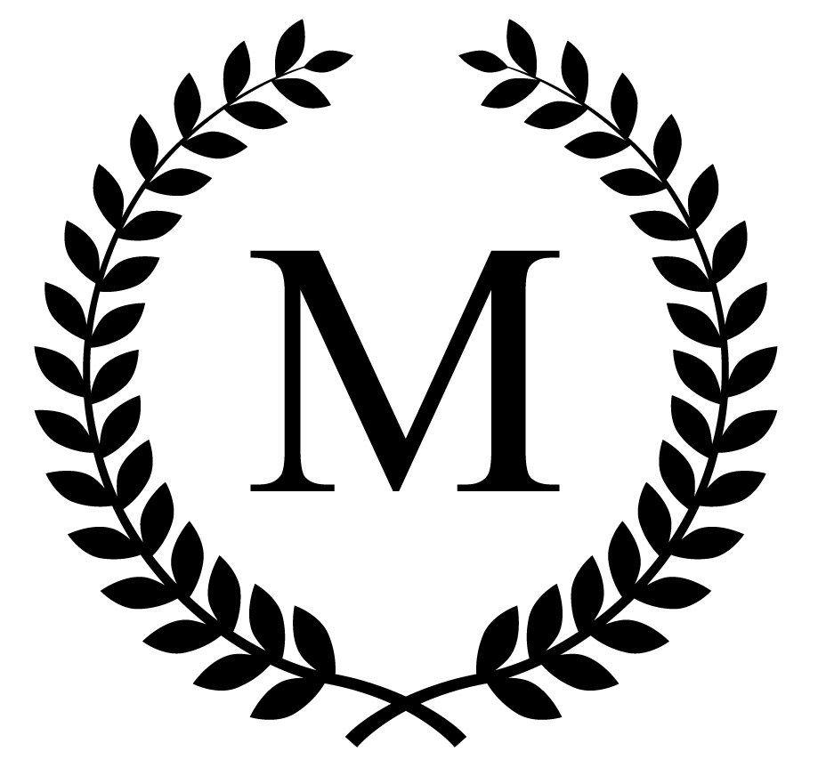 monogram initial in laurel leaf frame vinyl decal (No.163.