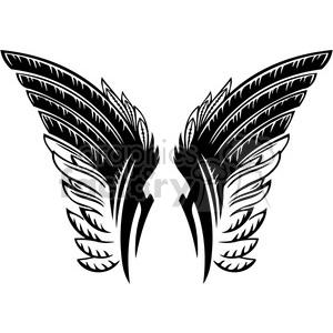 vinyl ready vector wing tattoo design 054 clipart. Royalty.