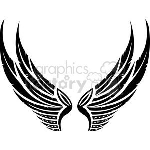 vinyl ready vector wing tattoo design 059 clipart. Royalty.