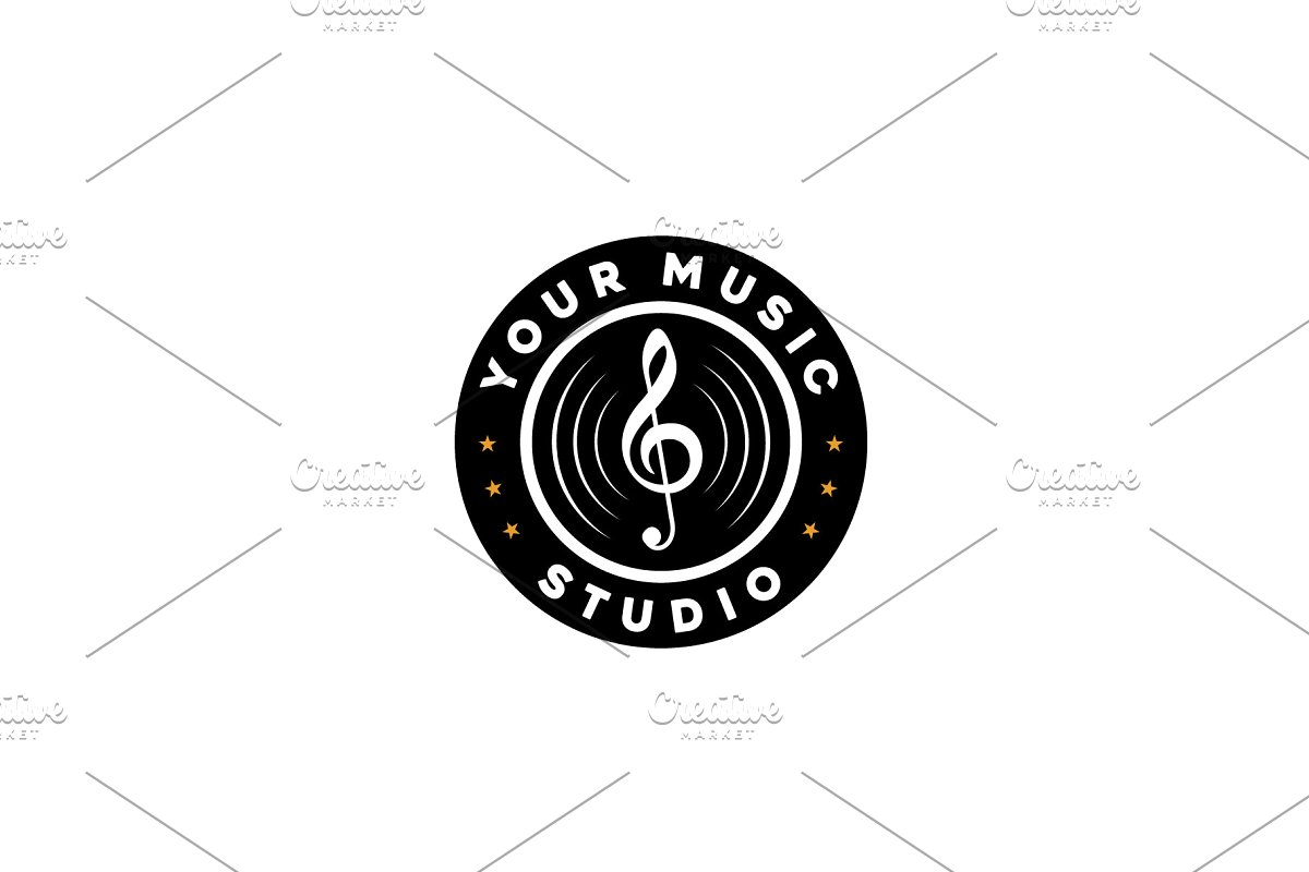 Vintage Music Vinyl Record Logo.