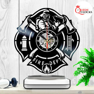 Details about Firefighter Fire Department Logo Gift For Men Vinyl Record  Wall Clock Home Decor.