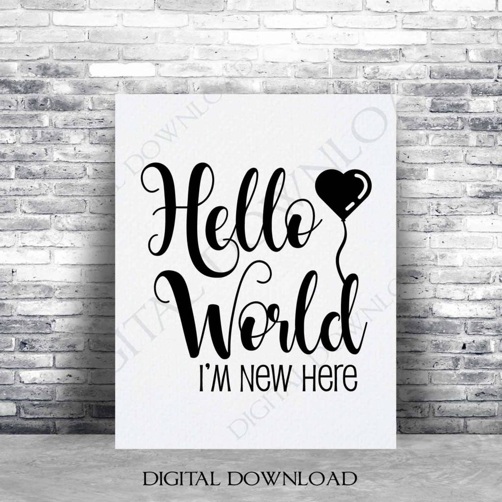 Baby SVG Hello World Clipart Quote, Digital Artwork for.