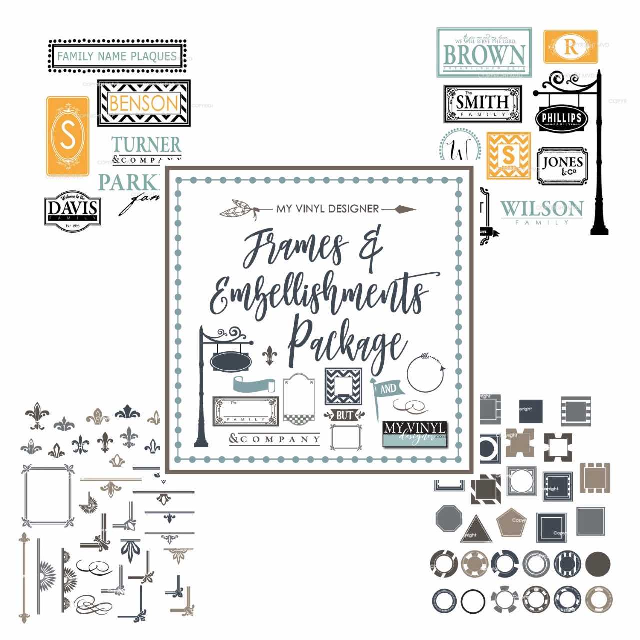 Frame & Embellishments Vector Clipart USB Package for Sign & Stencil Cutting.