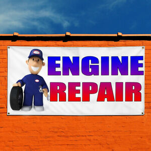 Details about Vinyl Banner Sign Engine Repair With Human Clipart Marketing  Advertising blue.