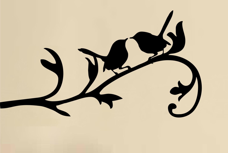 Love Birds On Branch Wall Decal Vinyl Art Sticker By.