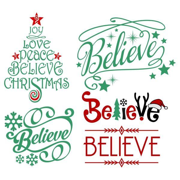Believe Christmas Svg Cuttable Design.