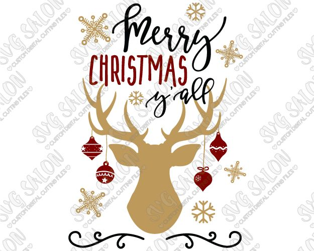 Merry Christmas Y\'all Antlers Cut File in SVG, EPS, DXF.