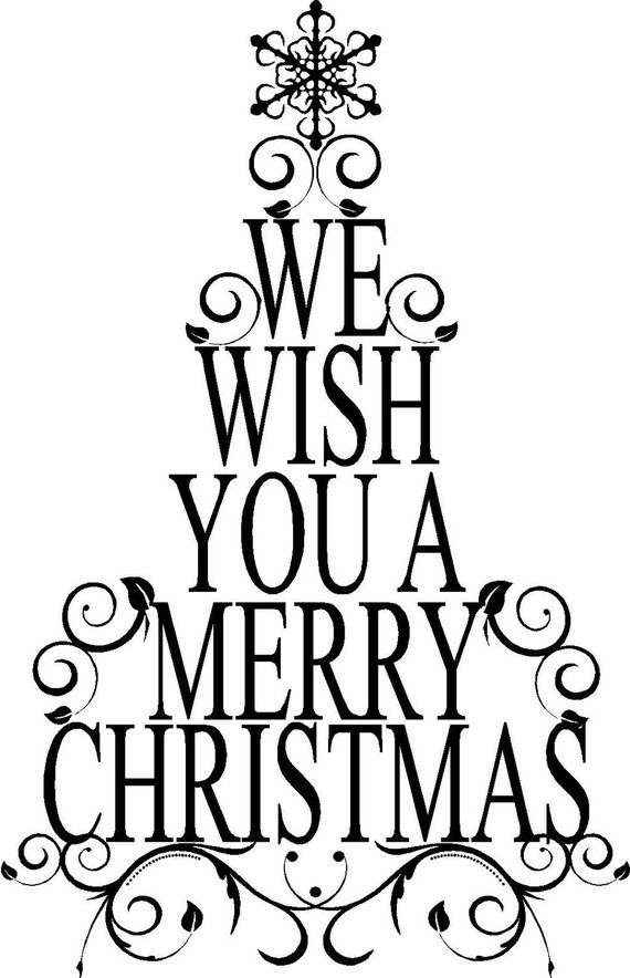 Large We Wish You A Merry Christmas Tree Decoration Vinyl.