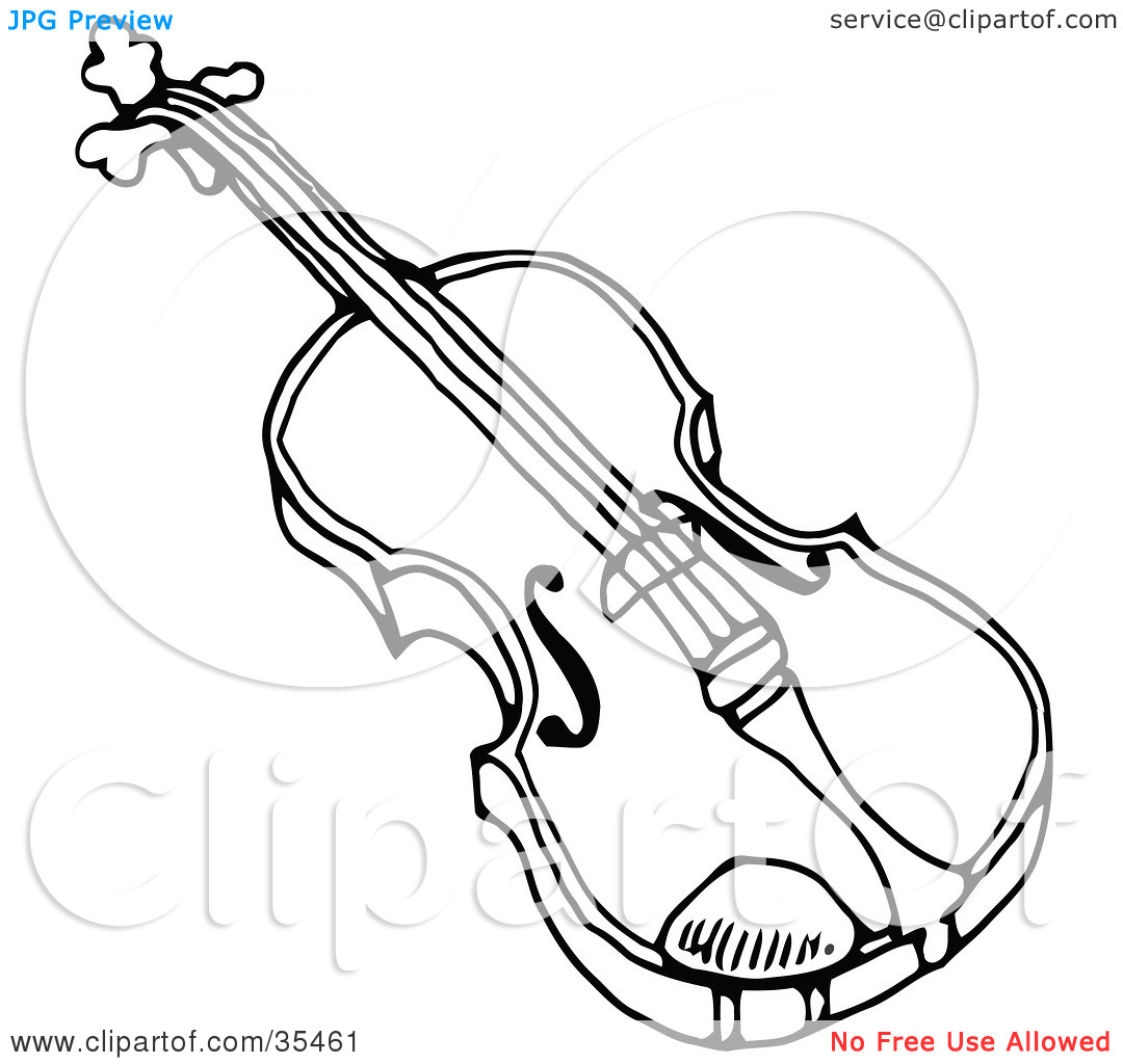 Clipart Illustration of a Black And White Violon Or Viola.