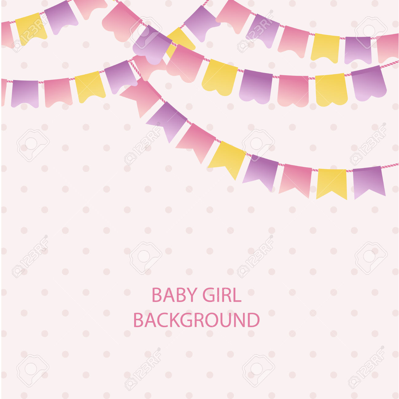 Cute Vintage Textile Pink And Violet Bunting Flags For Girl's.