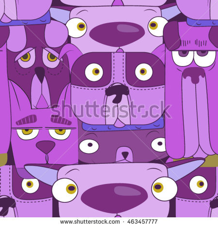 Purple Dogs Seamless Vector Pattern For Wallpaper, Web Page.