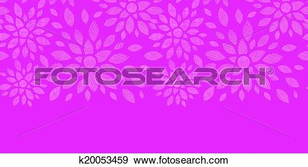 Clip Art of Abstract textile flowers pink horizontal seamless.