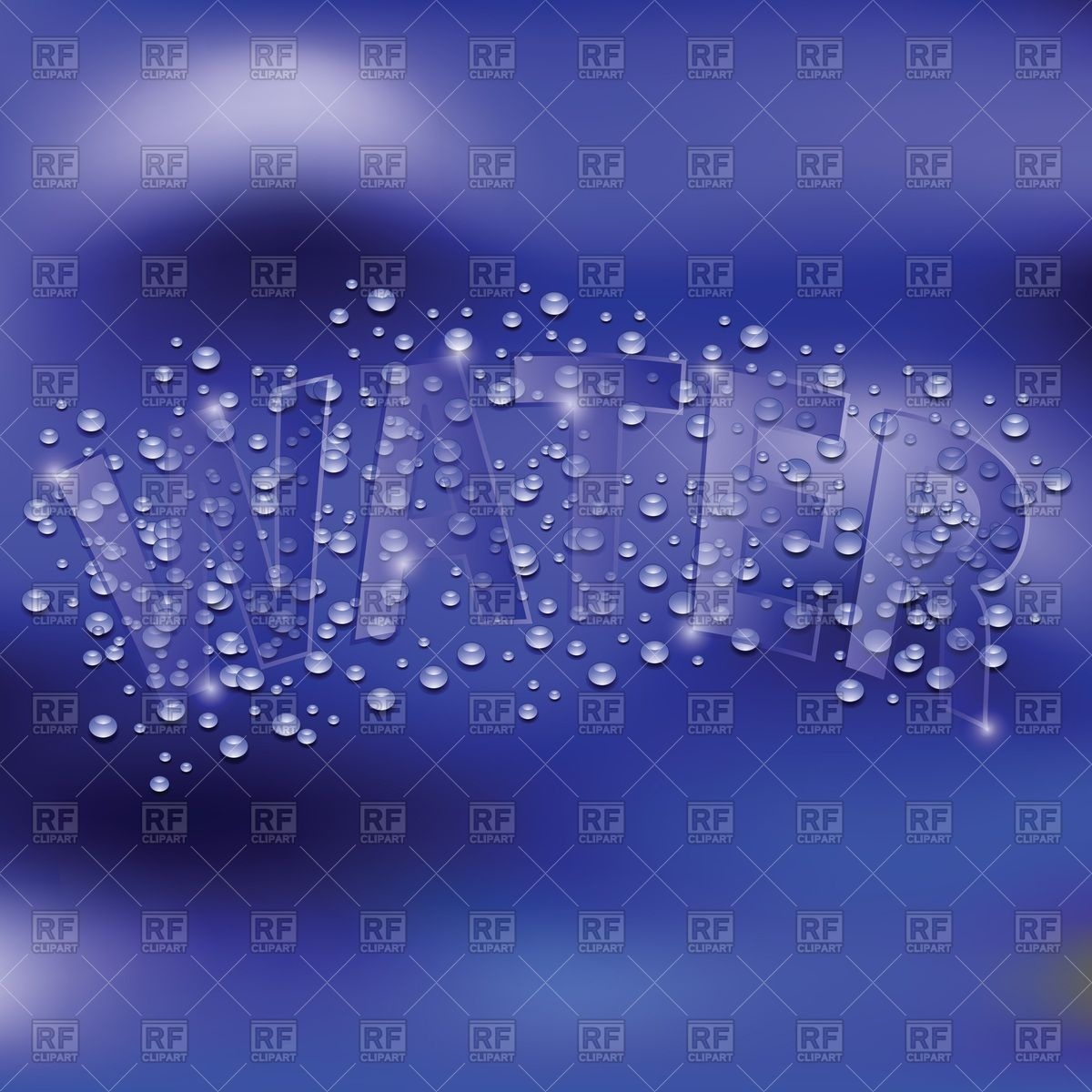 "Inscription ""Water"" with dew drops on violet background Vector."