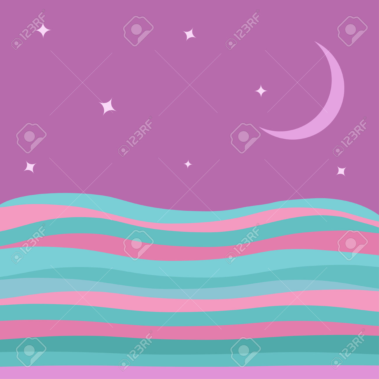 Sea Ocean Water With Blue Pink Waves Violet Sky And Halfmoon.