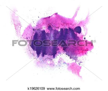 Stock Photograph of abstract drawing stroke ink watercolor purple.