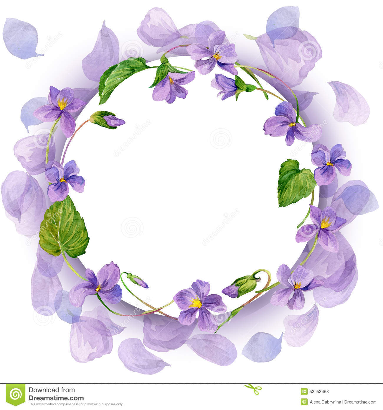 Wreath And Garden Flower Background. Watercolor Stock Illustration.