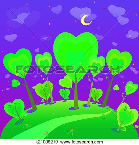 Clip Art of illustration of fantasy landscape. Forest and night.