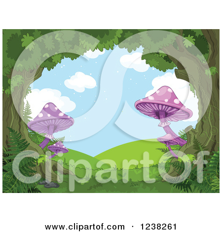 Clipart of a Fantasy Forest Tree Canopy and Mushrooms Forming a.