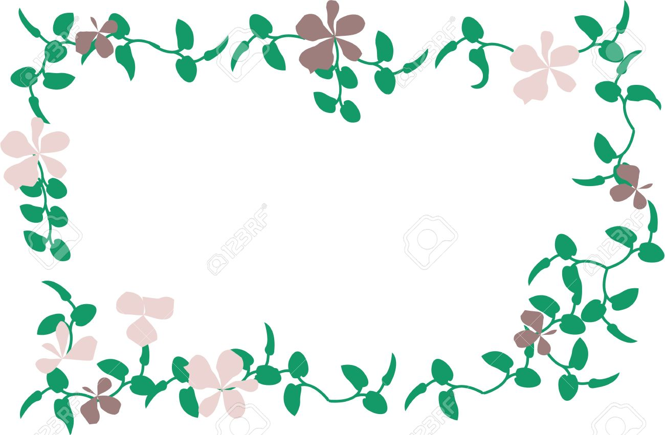 Vector Cartoon Clip Art Of Violet Flowers And Green Leaves Forming.